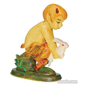 Weller garden figurine - Pan with rabbit