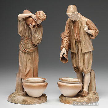 figures, royal, worcester, water, carrier, figurine