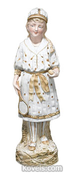 This 14 1/2-inch figurine of a female tennis player was made by the German firm Gebruder Heubach in the 1880s. It sold for $375 this year at Mastro Auctions of Burr Ridge, Ill.