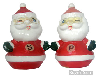 "This 5-inch-tall Santa-shaped china salt and pepper set was imported by Holt-Howard in 1960. The ""Winking Santa"" set is worth $35 to collectors of Christmas memorabilia and those who seek pieces by the Holt-Howard company."