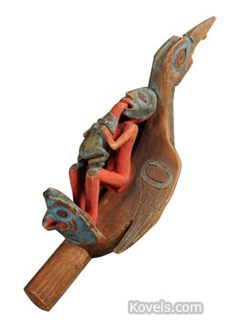 This raven rattle was made by Northwest Coast Indians in the 19th century. The carved and painted wooden rattle is 10 3/4 inches long. It sold for $9,480 at Skinner in Boston.