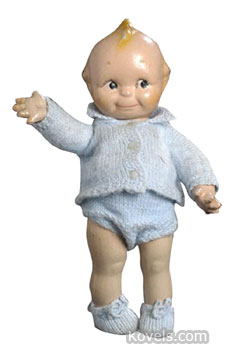 This composition kewpie-like doll was made in the United States, but is unmarked. It has jointed arms and the typical splayed-finger hand seen on authentic Kewpies. It sold for just $50 at a recent Cowan's auction in Cincinnati.