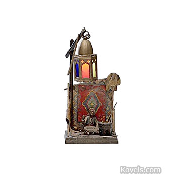 Cold-painted bronze lamp
