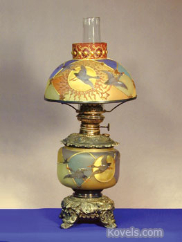 This 20-inch Royal Flemish table lamp with Guba ducks flying in a night sky sold this spring at Early Auction in New Milford, Ohio, for $25,100. It was complete with matching shade.