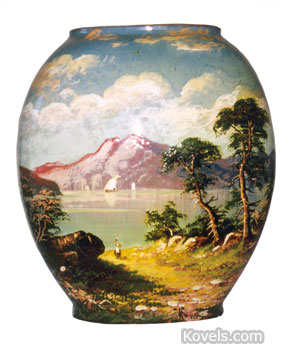 "This red clay vase is marked ""Matt Morgan Art Pottery"" and ""1884."" The landscape decoration on the 7-inch vase was hand-painted."