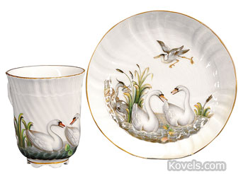 This colorful 19th-century cup and saucer is copied from the famous Meissen Swan set of the 1730s. It sold at a Skinner auction for $593.