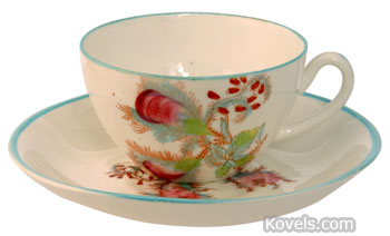 The moss rose, named for the fuzzy covering on its flower buds and stems, decorates this cup and saucer. It is a pattern first popular in the 19th century.
