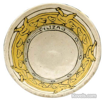 """The hens and chicks on this Saturday Evening Girls cereal bowl are the work of young girls. This bowl was a special order with the name """"Eliza"""" included in the border. It was sold last fall by Craftsman Auctions in Lambertville, N.J., for $1,140."""