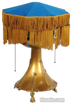This is more than a lamp. Hiding under the fringed lampshade is a disc phonograph. This vintage table lamp sold for $1,200 at Morphy Auctions in Denver, Pa.
