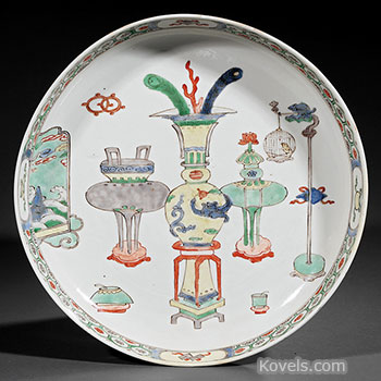 porcelain, chinese, charger, famille, verte, furnishings