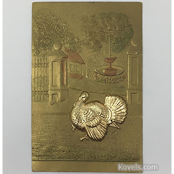 postcard, thanksgiving, gold, turkey