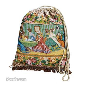 purse,beaded,ladies at tea