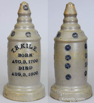 This grave marker with the suspicious birth and death dates was a salesman's sample that was never used to mark a grave. The 12-inch-high stoneware marker, probably from Tennessee, was sold at Crocker Farms Auctions of Riderwood, Md., for $8,800.