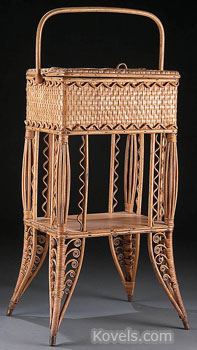 This woven wicker sewing basket was made c.1900 to be kept on the floor near a seamstress. It is 28 inches high. Although rare, it sold for only $75 at a Jackson's auction in Cedar Falls, Iowa.