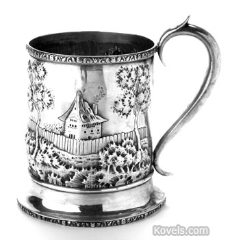 """This cup was made in Philadelphia about 1850. It is marked with the maker's name """"Leonard & Wilson"""" and the word """"standard."""" It is engraved with initials and a fraternal organization's symbol."""