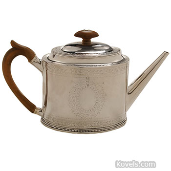 silver, sterling, teapot, pear, wood