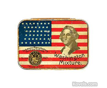 Tobacco tin with image of George Washington