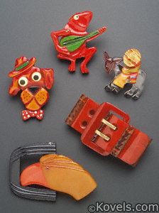 Bakelite brooches and bracelets