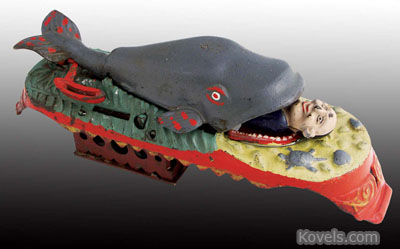 Mechanical bank, Jonah & Whale, J.E. Stevens