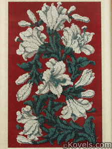 English beadwork panel, lilies on crimson field