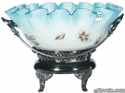 Bridal basket, Blue satin glass crimped-edge bowl