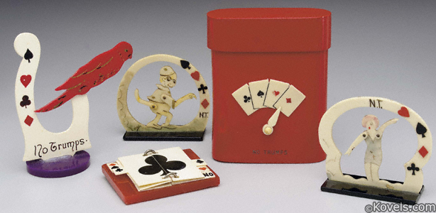 Cards, trump indicators, celluloid, 5 piece