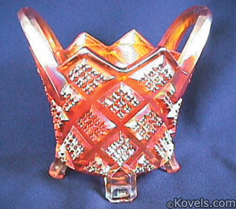 Carnival glass basket, diamond points