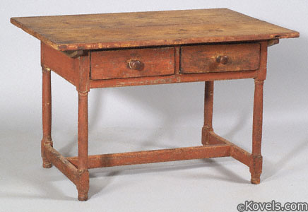 Painted pine and maple two-drawer tavern table