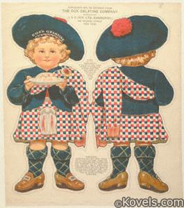 Uncut cloth dolls, Cox Gelatin Boy