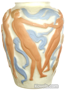 "Consolidated glass ""Dancing Nymph"" vase"
