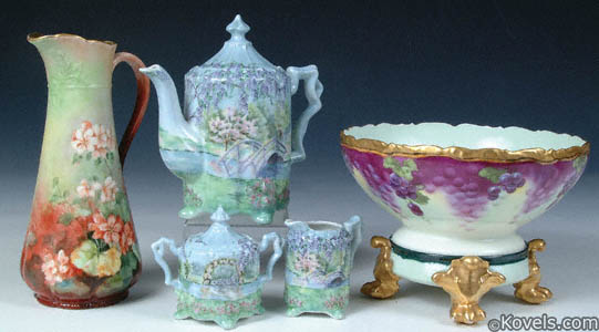 Hand-decorated porcelain tea set