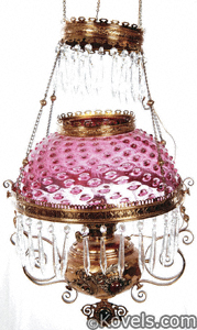 Cranberry glass hobnail lampshade