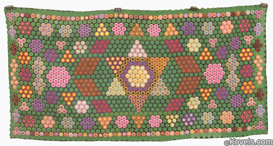 Large hooked penny rug