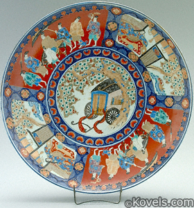 Imari Charger with cart under cherry tree