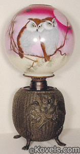Gone With The Wind Lamps, Hand-painted glass shade of two owls in tree