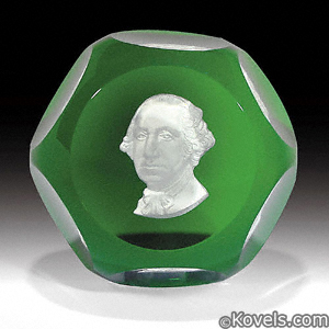 Baccarat George Washington sulphide cameo paperweight