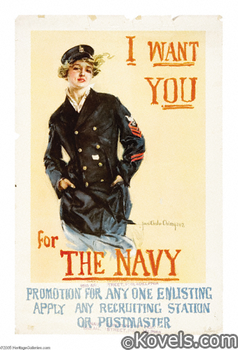 World War I Posters - I Want You for the Navy, art by Howard Chandler Christy