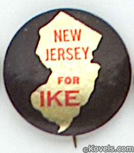 New Jersey for Ike political button