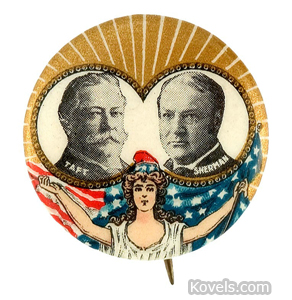 William Howard Taft and James Sherman 1908 celluloid jugate