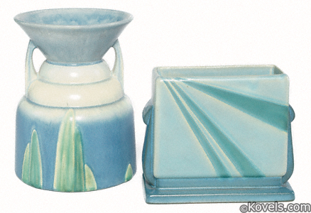 Two Roseville Futura vases, spitoon and blue sunray