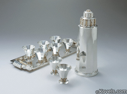 Tiffany Art Deco silver cocktail set