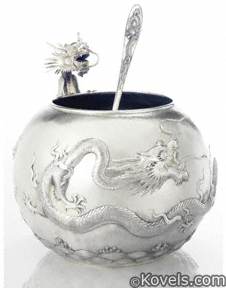 Chinese esport silver, punch bowl, ladle