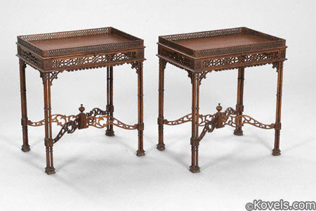 Pair of George III-style mahogany silver tables