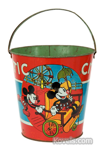 Toy sand pail, Mickey, Minnie Mouse