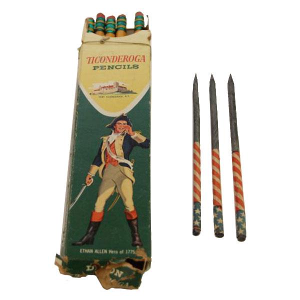vintage pencils in box and patriotic pencils