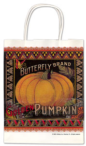 Butterfly Brand Golden Pumpkin Label Gift Paper Bag