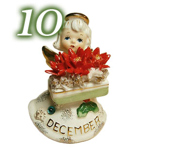 Lefton December Birthday Angel Figurine with Poinsettias