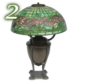 Tiffany Lamp, Poinsettia shade