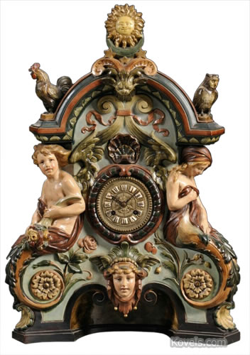 German pottery mantel clock