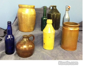 Crock, jug, pottery & bottles - WVIZ auction